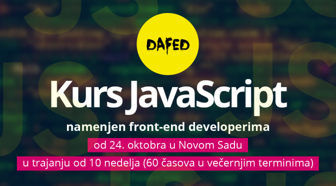 DaFED pokreće kurs JavaScript u Novom Sadu namenjen front-end developerima
